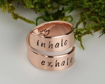 Yoga Wrap Ring - Inhale Exhale Ring with Lotus