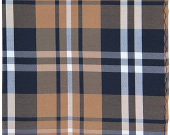 Men's Polyester Plaid Black Brown White Handkerchief, for Formal Occasions (2012)