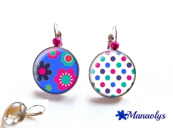 Earrings sleepers and pea flowers, blue, fuchsia, glass cabochons, beads magic 2299