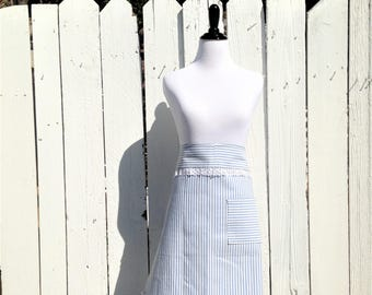 Handcrafted Retro Style Blue & White Striped Half Waist Apron With Pocket|Salvaged Vintage Lace|Hostess Market Vendor Teacher Craft Apron