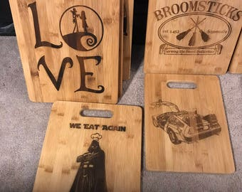 Custom Engraved bamboo cutting boards.