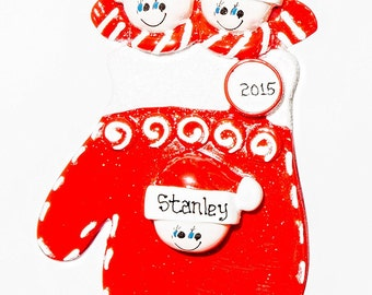 Personalized Ornament-Red Mitten Family of Three(3)-Free Gift Bag Included