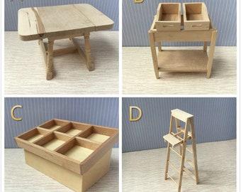 Dolls House Miniature Nature Wood Furniture 1/12 Scale