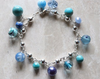 Blue - Turquoise - Magnesite - Lampwork - Faceted - Glass Bead - Sterling Silver - Charm Bracelet - Cha Cha Bracelet - with Lobster Clasp