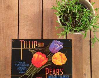 ande rooney . vintage . tulip brand pears . porcelain enamel sign