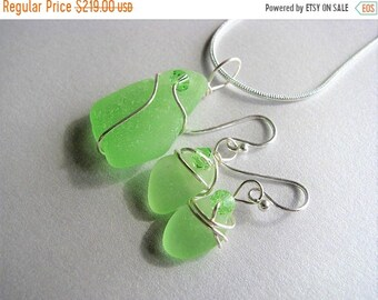 Mothers Day Sale VERY RARE Vaseline Sea Glass Uranium Glass Jewelry Set - Sea Glass Pendant and Earring Set-Unusual Ocean Jewelry Set - Vase