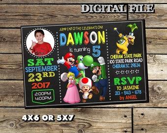 Super Mario Invitation,Mario Bros Invitation,Super Mario Birthday Invitation,Mario Bros Birthday Invitation,Mario Bros Printable,Invitation