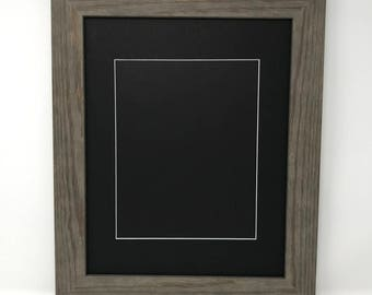 """11x14 1.75"""" Rustic Grey Solid Wood Picture Frame with Black Mat Cut for 8x10 Picture"""