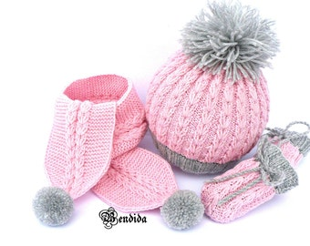 Baby Girl Set, Hat Scarf and Mittens, Baby Pompom Beanie, Pink and Gray Baby, Thumbless Baby Mittens, Chunky Baby Hat, Winter Baby Clothes.