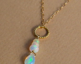 Feiry ethiopian opal wire wrapped briolette and row of rondelles pendant necklace of gold filled and vermeil gold