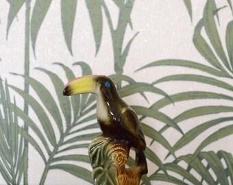 Vintage Toucan Porcelain figurine boho Home decor Bird