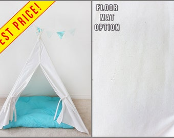 Budget Plain Speckled Ivory Canvas Princess teepee Play tent Kids teepee tent Children's teepee Kids tipi Teepee boy Large tent Fort