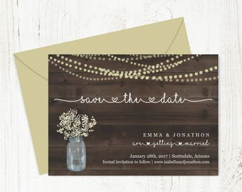 Save the Date Card Printable Template - Rustic Mason Jar w Baby's Breath & String Lights on Wood | Instant Download Digital File DIY PDF