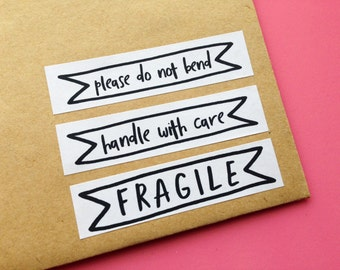 Handle With Care Sticker, Please Do Not Bend Label, Fragile Sticker, Mailing and Shipping Stickers, Gift Wrapping, Happy Mail Stickers