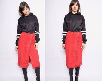 Vintage 80's Red Suede Leather Midi Skirt / Fringe Suede Wrap Up Skirt - Size Small