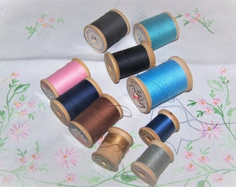 10 Vintage Wooden Spools of Thread