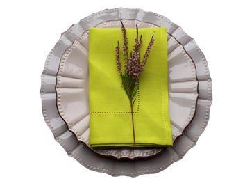 GREEN Linen Napkins - lemon green napkins - bright green napkins - yellow green napkins - hemstitched napkins - CHARTREUSE NAPKINS