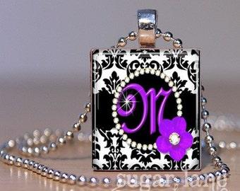Monogram Scrabble Initial Necklace - Purple and Black Damask - Scrabble Tile Pendant with Chain