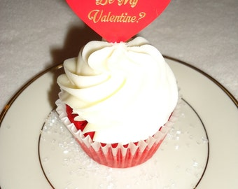 Personalized Cupcake Topper, Heart Shaped Cupcake Topper,  Valentine's Day, Birthday, Party, Anniversary