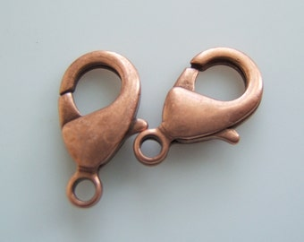 5 - Antiqued Copper Over Brass Lobster Claw Clasps