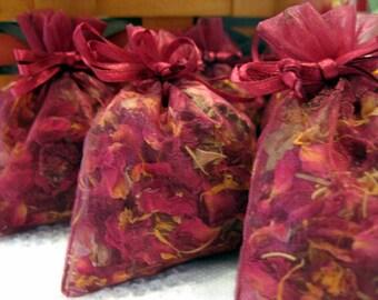 Rose Sachet cadeau Set de 6 un mélange d'herbes séchées Choisissez votre parfum
