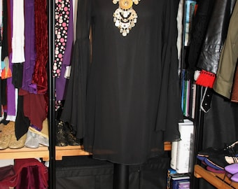 Black Angel-Handmade 60's Style Chiffon Shift Mini Dress with Huge Split Angel Sleeves