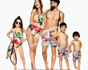 Family Matching Swimsuits, Flamingo Swimsuits, Family Matching Swimwear, One Piece Swimsuit, Flamingo Clothing, Summer Swimsuit, Swim Shorts