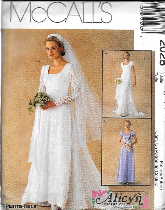 McCalls 2028 Misses Empire Waist Bridal Gown Wedding Dress Evening ...