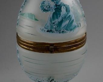 Palais Royal Opaline Glass Casket French Hinged Egg Box