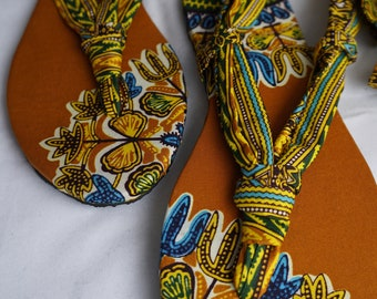 Ethnic Dashiki Ankara Wax African Print Green Yellow Gold Brown Strappy Sandals Size 10.5 Euro Size 41