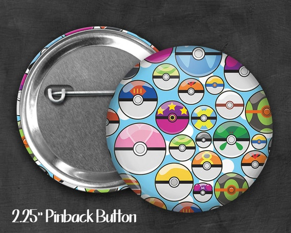 "2.25"" Pokeball Pinback Button, Geek Button, Geekery, Button, Kawaii Button, Badges, Flare, Fanart, Fandom, Pin"