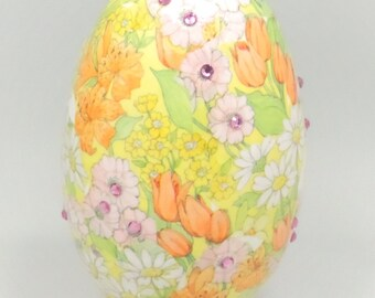 Yellow Spring Flowers, Spring Flowers, Spring Tulips, Mothers Day Gift, Easter Egg, Holiday Gift Idea, Faberge Decorated Egg