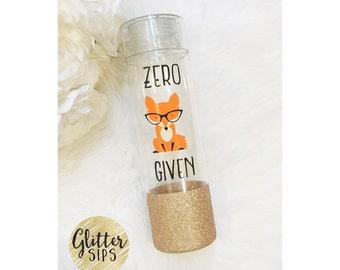 "Zero ""fox"" Given BPA Free Glitter Dipped Plastic Water Bottle // Glitter Water Bottle // Glitter Bottle // Birthday Gift // Fox"
