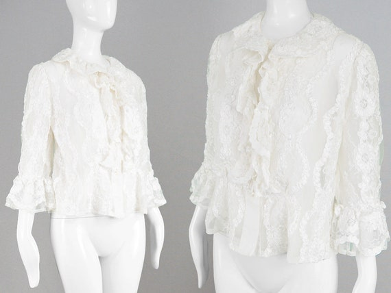 Blouse Shirt Couture Vintage Sleeve Bell AMIES Romantic Lace White Blouse Top Gypsy Ruffle Lacy Shirt Sheer 1980s HARDY Shirt Blouse Women SPPEqOxrZw