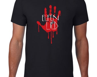 Elfen Lied logo and Lucy's bloody handprint mens T-shirt