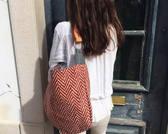 "Hobo Bag ""PannaCotta"", Red, Ivory, Canvas bag, Handbag, Shoulder bag, Top handle bag, Leather handle"
