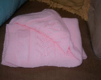 hand knit baby or lap blanket- pink