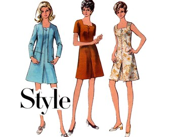 Style 2792 Womens Retro Square Neck Dress & Collarless Jacket 70s Vintage Sewing Pattern Size 12 Bust 34 inches