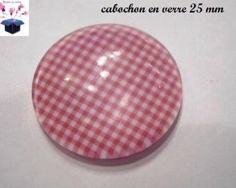 1 cabochon clear 25 mm red gingham theme