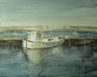 Lone boat  - Baltic seascape - original watercolor