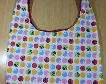 Handmade Shoulder/Beach Bag Cotton Fabric Cats And Pigs Print