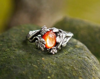 "Sterling Silver Sunstone Ring ""Daisy"" READY TO SHIP, sunstone engagement ring,delicate ring,flower ring, antique ring"