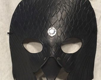 Jewelled 2 Headed Raven Leather Mask
