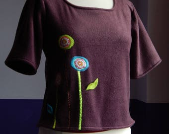 Knit sweater fleece Eggplant color with applied.