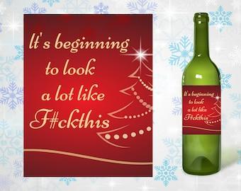 Funny Christmas Wine Label, funny christmas gift, funny friend gift, funny coworker gift, funny host gift, downloadable gift, printable gift