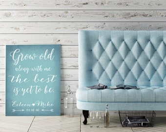 Grow old along with me for groom wedding gift bedroom decor gift for couple husband gift mint wedding gift for her canvas art couples gift