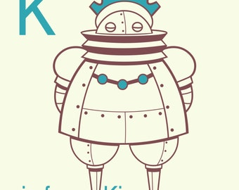 Robot Alphabet Print - K is for King, robot art print, retro robot art, art for kids, robot nursery art