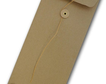 Brown Bag KRAFT  No 10 POLICY String & Button Envelopes 10 pack