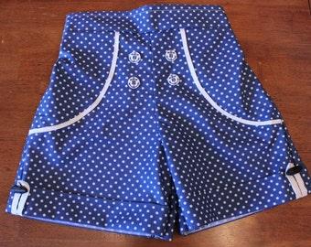 Girls Navy Blue Polka Dot Sailor Shorts