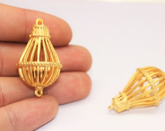 2/10/25 Pcs 22k Matte Gold Plated Birdcage Pendant - Gold Plated Jewelry Supplies - Cage Charm - Necklace Pendant - Necklace Charm